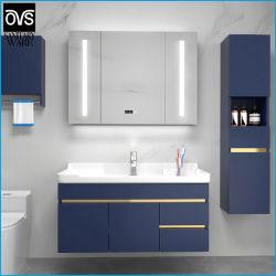Venta caliente cuarto de baño de madera contrachapada baratos vanidad/cuarto de baño color azul de la Vanidad