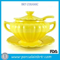 A melhor cozinha refratário amarelo ouro vasos de cerâmica com a panela de arte