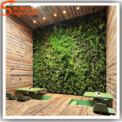 Nuevo estilo de decoración de interiores de plástico Artificial muro de la hierba verde