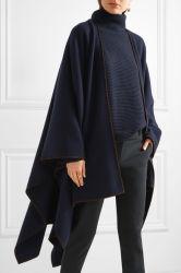 Suede-Trimmed de alta qualidade e de lã merino Cashmere-Blend Mulheres Cape