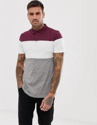 人の原因の対照カラーブロックのポロシャツ