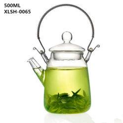 500ml vidro Pyrex bule de chá com pega de madeira Vintage chaleira