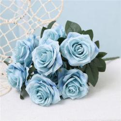 Mode Tête de 10 Fleur artificielle de la soie Bouquet Rose bleue