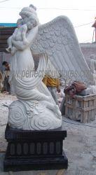 Statue de marbre pierre personnalisé Cimetière de Monuments commémoratifs Angel Monument de cimetière Sculpture (sy-X1004)