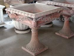 Décoration de jardin en pierre naturelle fleur antique en marbre du statif du semoir (QFP401)