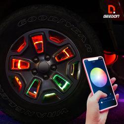 14/15/16 дюйма и колесо кольцо комплект освещения цвета RGB с одновременным контролем Bluetooth горит водонепроницаемый колесо кольца