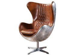 型デザインアルネJacobsenの実質の革航空短気者のオットマンが付いているアルミニウム旋回装置の卵の椅子