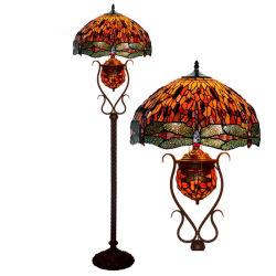 Preço grossista Dragonfly Tiffany Vitrais Luz de piso