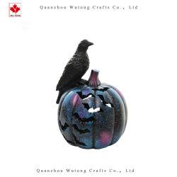 Caída de la resina de Halloween El Cuervo de calabaza con luz LED Decoracion