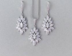 結婚式のナシCZのネックレスの宝石類セット、花嫁CZの宝石類セット、新婦付添人の宝石類セット、ギフトの宝石類