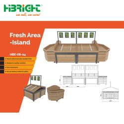 Supermercado Deck sólido producir Retail vitrinas y estanterías para frutas y verduras frescas