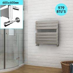 Sally 600x600mm carré SPCC minimaliste de l'eau à écran plat porte-serviette chauffant radiateur avec une finition chromée brillante pour la maison/Salle de bains/chambre/Cuisine/Salle de séjour