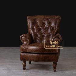 Poltrona di cuoio reale piena dell'oggetto d'antiquariato americano di stile, singole presidenze del sofà di Seater