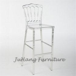Factory Direct bar Napoleon pieds métalliques Chaise haute en résine transparente