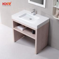 Solid folheado de madeira armário de casa de banho de bacia hidrográfica Superfície sólida vaidade define