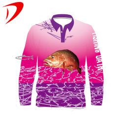 Mens Sublimação personalizada Camisola de pesca de poliéster anti UV Upf 30/40/50 a aplicar a pesca Jersey