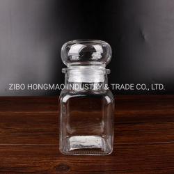 帽子のふたが付いている正方形の密閉小型150ml 5ozのガラススパイスのコショウの塩の香辛料の瓶の医学の瓶