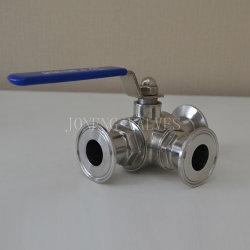 Collier sanitaire en acier inoxydable Vanne à boisseau sphérique à trois voies (JN-BLV2004)