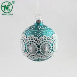 Commerce de gros décoratifs en verre vert de Noël Boule de Noël de 8 cm Bille de verre, de la main peinture boules de Noël de verre
