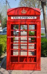 de Britse Retro Openlucht Openbare Oude Blauwe Telefooncel van het Glas