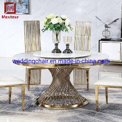 Mesa De Comedor de acero inoxidable Muebles de hogar con el hombre hizo encimera de mármol