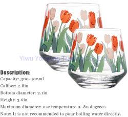 12oz Cute Water Cups Tulip Pattern Drinking Glass VIBRANT 튤립 꽃 뜨거운 커피 또는 찬 음료 크리스마스 걸 여자 선물