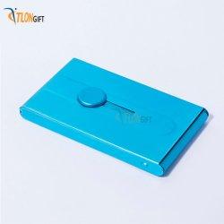 プッシュ / プルスイッチ付き、ブルーメタルブライト名刺クリップのクリエイティブデザイン
