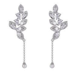 925 Silver-участник роскошь падение листьев Earring с жемчугом
