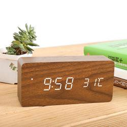 나무는 침실 침대 곁을%s 3 경보 조정을%s 가진 전기 시계를 만들었다