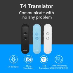كلام T4 مترجم صوتي محمول ثنائي الاتجاه في الوقت الحقيقي 44 اللغات المترجم الذكي لتعلم الاجتماع أثناء السفر