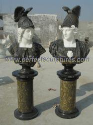 Innen Geschnitzter Römischer Stein Soldier Head Skulptur Marmor Schnitzerei Krieger Büste Statue für Heim dekorativ (SY-S315)