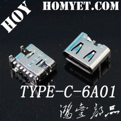 Tipo-c rapido connettore della carica 6pin SMT di alta qualità della presa a parete di 3.1USB per il telefono mobile