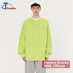Оптовая торговля зеленый лайм хлопка обычная дрсуга долго большой пота рубашки с карман для защиты грудной клетки