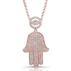 14k Rose Gold sobre a prata Micro Pave Diamond olho mau e o colar da HAMSA