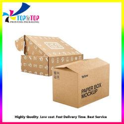 Op maat gerecycleerde Kraft Golfdrukdozen Tuck Mailer Top Box Cadeauverpakking Verzending Karton papieren doos Flat Rate Box Fabrikant