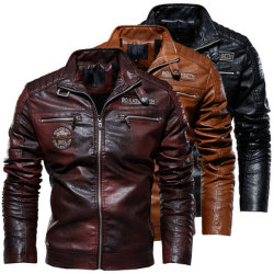 Homens novos do Outono Inverno homens Qualidade Fleecce Coat Casaco de couro Motociclo Macho Estilo Business Casual casacos para homens Preto Camada Quente Cowboy Plus Size