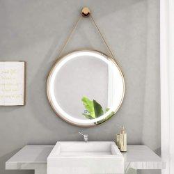 Badezimmer-Spiegel der Morden Art-runden Form-LED mit Metallriemen und -haken