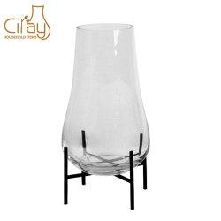 Nouvelle forme Vase en verre Pot de fleurs avec support métallique pour la décoration