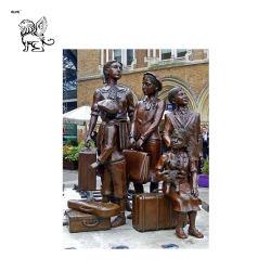 preço de fábrica jardim exterior estátua de bronze da escultura Kindertransport Crianças Bfsm-13