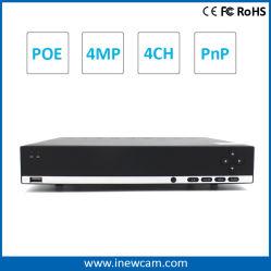 4CH 4MP Poe Netword устройство записи видео со звуком