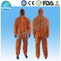 微小孔のある使い捨て可能なオレンジつなぎ服のNonwovenのつなぎ服