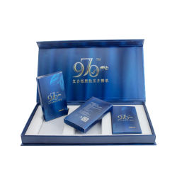Het glanzende Blauwe Vakje van de Gift van de Verpakking van het Document van het Karton