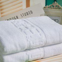 カスタマイズされたホテルのロゴのジャカード綿のテリーの浴室タオル