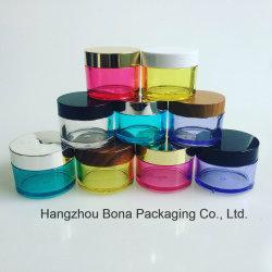 Kruik PETG van de Rang van het voedsel de Kleurrijke Kosmetische 30g 50g 100g met de Plastic Kruik van de Kruik van de Room van de Deksels van het Bamboe