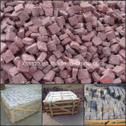 中国Natural Stone Red Porphyry Cube StoneかPavingのためのCobble Stone