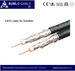 RG6 Super-Shield (Quad) cae un cable coaxial con Messenger para CATV / Satellite (RG6-F6SSV, F6SSVM)