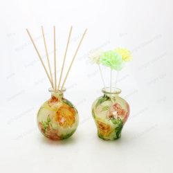 Diseño de etiqueta de fragancia difusor de vidrio de láminas de madera de botellas sola la decoración del hogar de flores