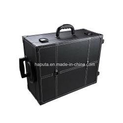 Black Rolling Studio Makeup Artist cosmétique PVC 15x8x19' cas W/Lumière Train Portable Table miroir (HB-140216)