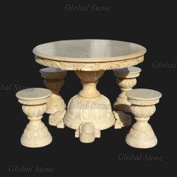 Pierre à sculpter jardin extérieur Table en marbre et banc (GSBH-501)