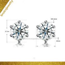 女性のための方法結婚式の宝石類925の純銀製のスタッドのイヤリングのダイヤモンドの宝石類